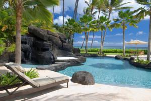 Poolside island